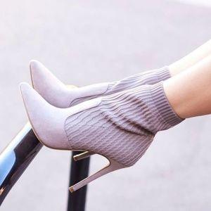 JustFab - Grey Sock Booties (NIB)